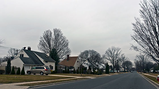 street scene in Levittown, New York
