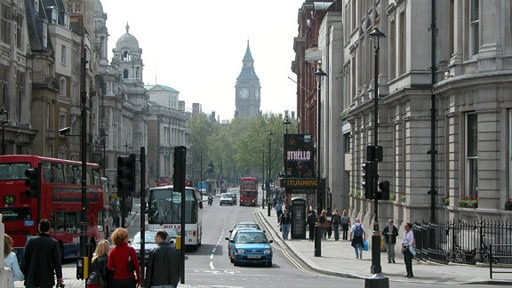 London streetscape with Big Ben at end of street
