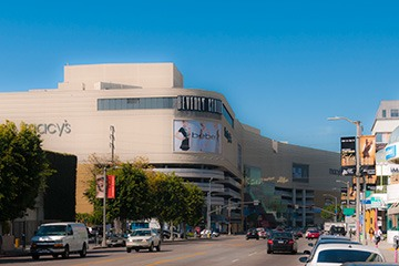 Beverly Center in Los Angeles dwarfs the street like a cruise ship amongst fishing boats