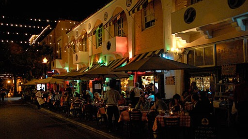 sidewalk cafes at night along Espanola Way on Miami Beach