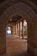 view through arch along length of loggia at Yale University