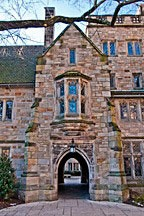 nested archways at each end of passage surmounted by bay window in stone gable at Yale University