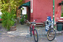bike rack outside Flora's coffee shop on Royal Street at Nine Points in New Orleans' Marigny Faubourg
