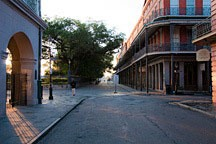 west corner of Jackson Square at dawn