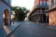 sunrise at the west corner of Jackson Square in New Orleans' French Quarter
