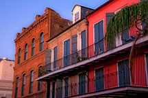 French Quarter apartment building on Decatur Street at sunrise