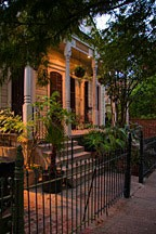 front porch and iron fence in the French Quarter