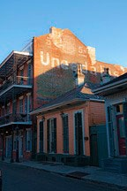 famous Uneeda Biscuit sign painted onto side of New Orleans French Quarter building