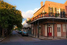 early morning street scene in north corner of New Orleans French Quarter