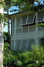 louvered walls of club villas at Old Fort Bay in the Bahamas
