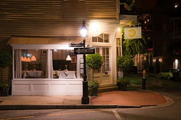 New Orleans French Quarter restaurant at night