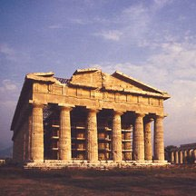 ancient stone temple in Paestum, Italy
