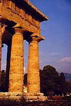 corner of temple at Paestum in Italy shot in early evening light