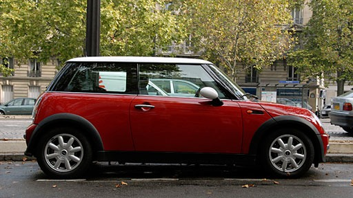 red Mini Cooper on the streets of Paris