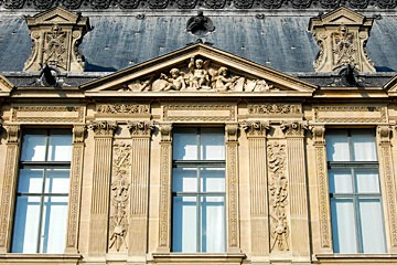 Paris Louvre gable with sculptures in tympanum
