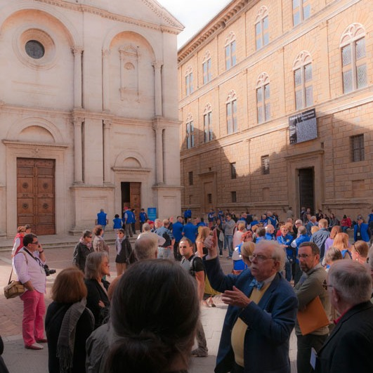 Pienza's famous piazza always draws a crowd