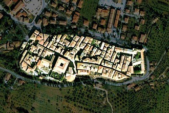 satellite view of Pienza, Italy