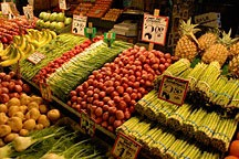 Pike Place Market vegetable & fruit display, Seattle, Washington