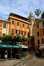 buildings along the town square of Portofino in Italy