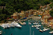 hilltop view of Portofino harbor