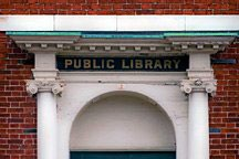entablature over front door of public library in Portsmouth, New Hampshire