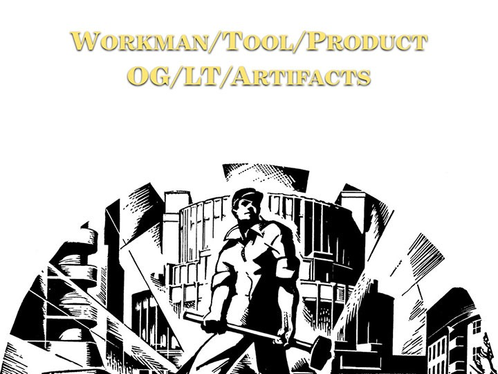 diagram of workman - tool - product to illustrate Original Green - living traditions - built artifacts