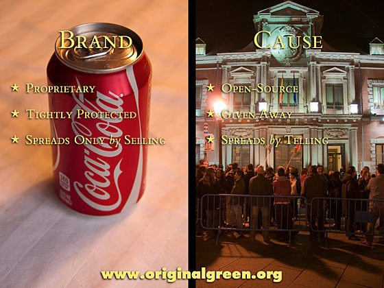 Coca-Cola can on left; protest in front of Madrid civic building on right