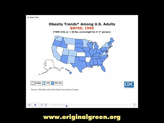diagram of US obesity by state in 1990
