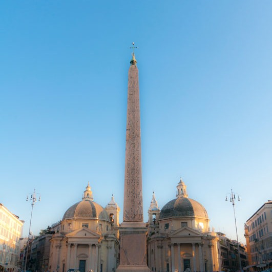 obelisk is center of Piazza del Popolo in Rome, where three avenues converge