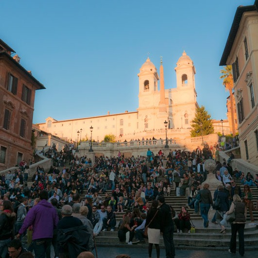 Rome's Spanish Steps afford more places to sit than almost any other outdoor room