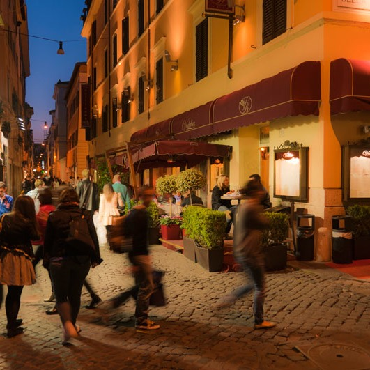 European streets (this one in Rome) are often great outdoor rooms as well