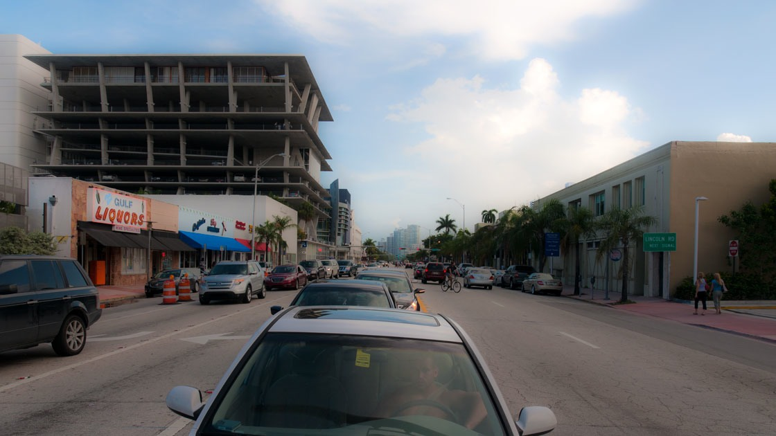 view down Alton Road looking South near intersection with Lincoln Road in South Beach