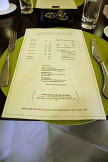 the menu at Aurea at the Stanford Court in San Francisco contains mainly local ingredients
