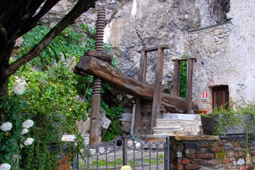 wooden olive press at Santa Catarina Hermitage on Lago Maggiore in northern Italy