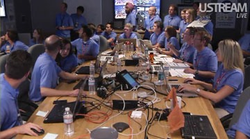 Mission Control scientists at the Jet Propulsion laboratory conferring on Curiosity