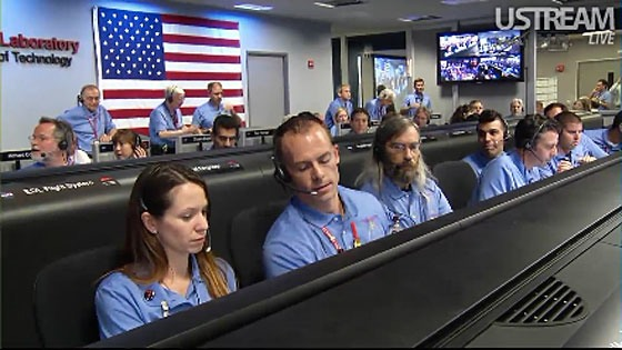 Mission Control at the Jet Propulsion laboratory, just before landing the Mars rover Curiosity