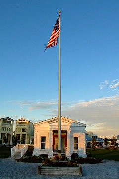 Seaside Florida post office and flagpole with American flag