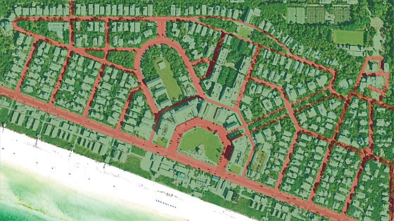 Seaside, Florida plan showing areas of real estate value and thoroughfares