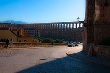 aqueduct running across the entry to Segovia, Spain