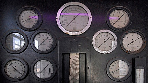 gauges on industrial control panel