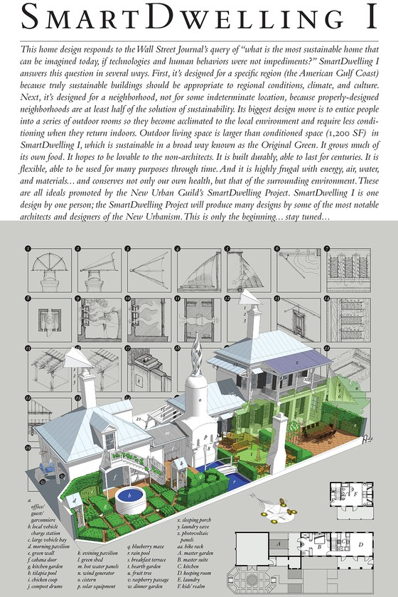 SmartDwelling I poster describes a house designed by Steve & Wanda Mouzon for the Wall Street Journal's Green House of the Future story in April 2009