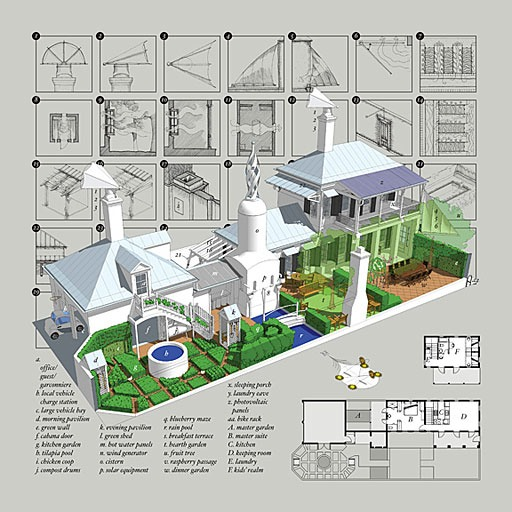 aerial rendering of SmartDwelling I superimposed over floor plans and diagrams of some of its features