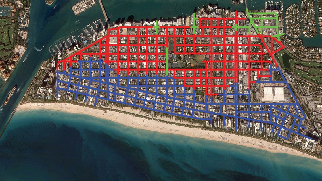 satellite image of South Beach showing streets that have been raised, those planned to be raised, and those high enough not to need to be raised in the near future.