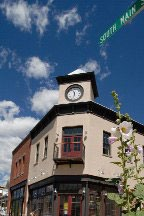 town center building with clock tower in South Main, Buena Vista, Colorado