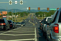 traffic on an arterial thoroughfare in Huntsville, Alabama
