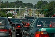 traffic on an arterial thoroughfare just outside Huntsville, Alabama
