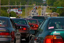 traffic jam in Huntsville, Alabama