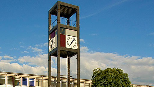 Cubist clock tower in the center of Stevenage New Town in the UK, a dreadful automobile-dominated place