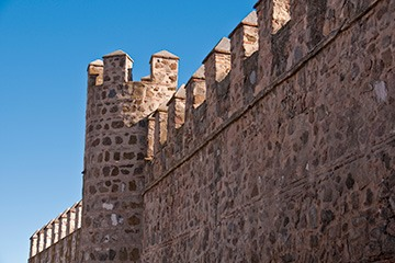 diagonal view of the ramparts of Toledo, Spain