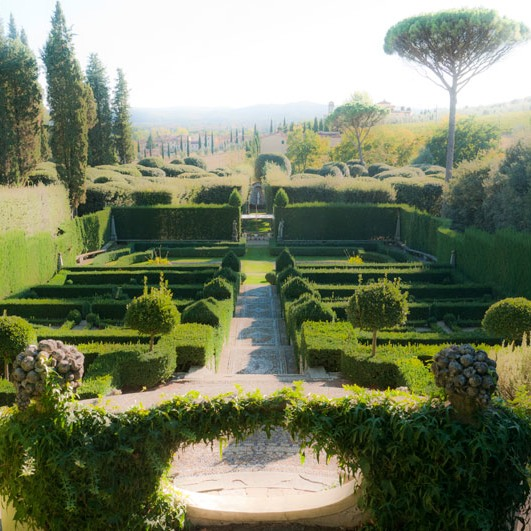 garden rooms cascade down hillside at Florence's Villa I Tatti
